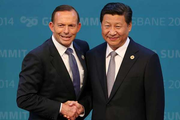 Prime Minister Abbott with President Xi in Brisbane