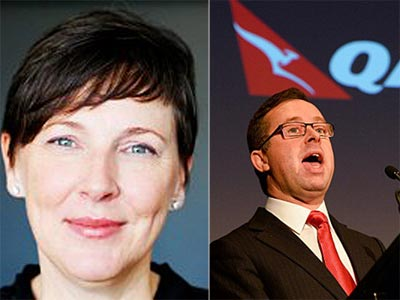 Qantas speech writer Lucinda Holdforth and Qantas boss Alan Joyce