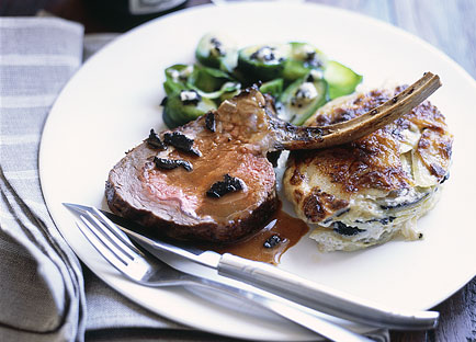 Rack of veal with truffle gravy, truffled scalloped potatoes and Brussels sprouts