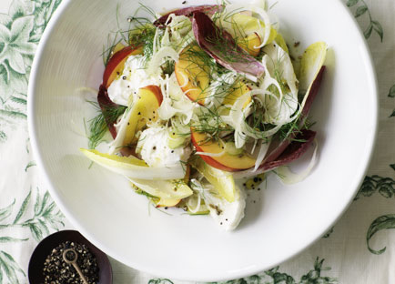 Buffalo mozzarella with nectarine, witlof and Champagne dressing