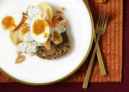 Smoked fish and egg salad on rye toasts