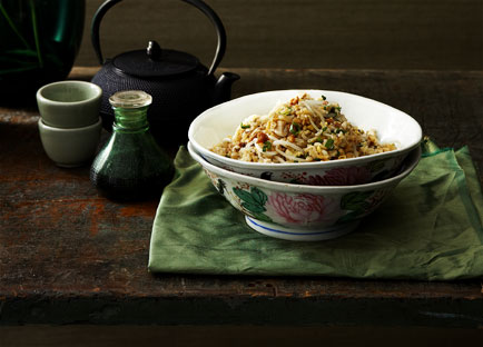 Cantonese fried rice with chicken, salted fish and bean sprouts
