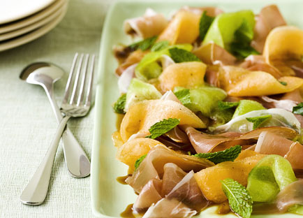 Rockmelon, mint and prosciutto salad with Pedro Ximénez syrup