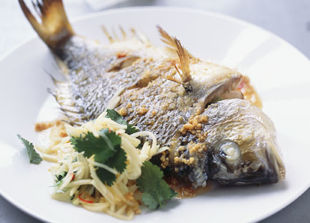 Roast bream with green papaya salad