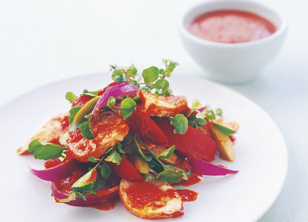 Fish and lobster salad with tomato-cumin dressing