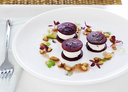 Pickled beetroot with creamed goat's cheese and pine nut vinaigrette