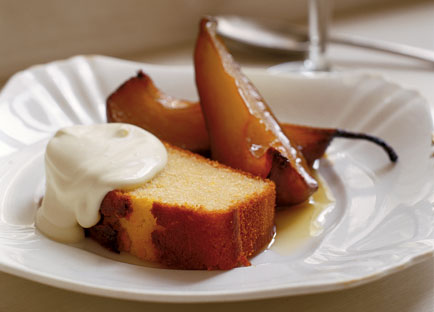 Olive oil and sauternes cake with roast pears