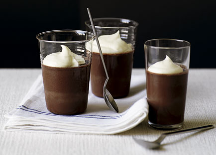 Bitter chocolate jellies with white chocolate crème fraîche