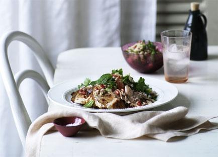 Pomegranate-roasted turkey with cracked wheat salad