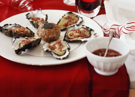 Oysters with mignonette and truffle crépinettes
