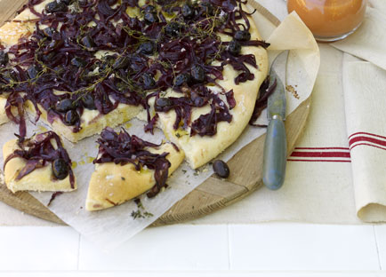 Red onion and olive focaccia