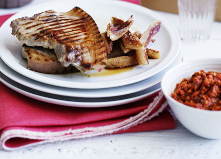 Pork chops with romesco and crackling