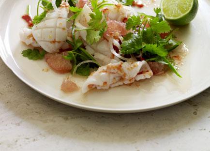 Calamari, pomelo and chilli salad