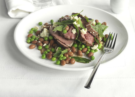 Autumn lamb with mint, feta, peas and borlotti beans