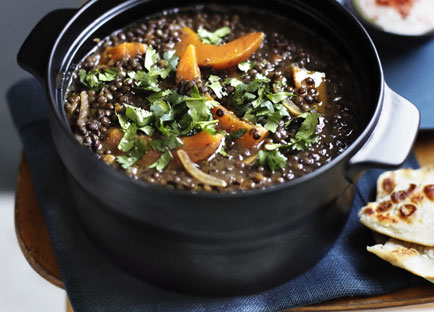 Brigitte Hafner: Green lentil soup with pumpkin and harissa