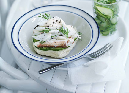 Crab Louis rolls with cucumber pickle