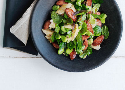 Chorizo, salt cod and broad bean salad
