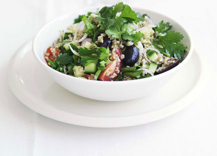 Freekah and herb salad with preserved lemon and black olives