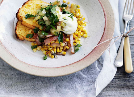 Poached egg with cornbread, corn and bacon hash and green tomato relish