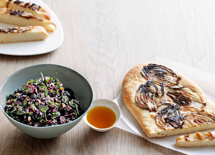 Rough olive tapenade with caramelised fennel schiacciata