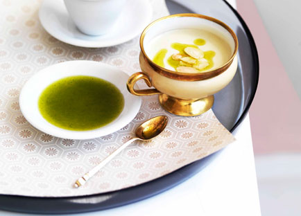 Ajo blanco with parsley oil