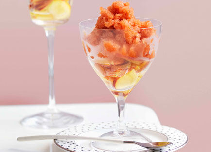Nectarine and elderflower granita