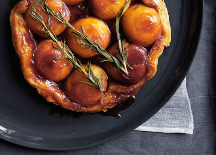 Peach and rosemary tarte Tatin with runny cream
