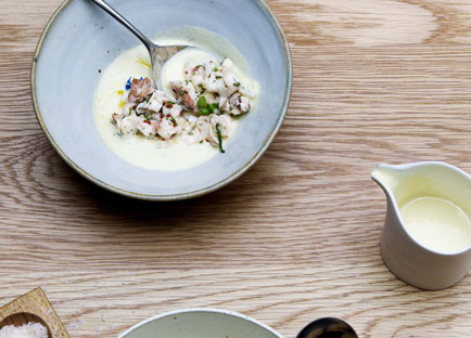 Cucumber and yoghurt soup with Moreton Bay bug salad