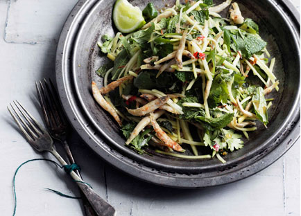 Crisp chilli whitebait and green mango salad