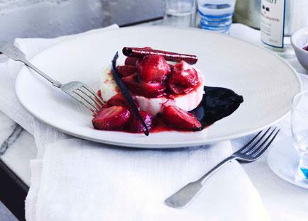 George Calombaris: Warm manouri with strawberry glyko