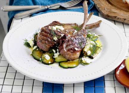 Char-grilled lamb with zucchini, feta and dill