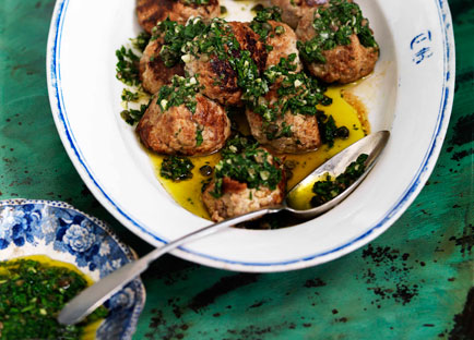 Veal and ricotta meatballs with salsa verde