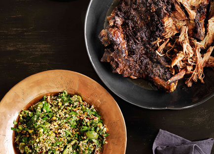 Shane Delia: 12-hour roast lamb with pistachio and green-olive tabbouleh