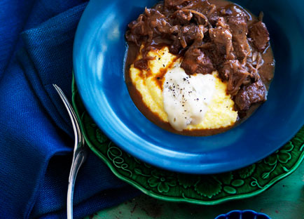 Wine-braised veal shoulder with Gorgonzola polenta