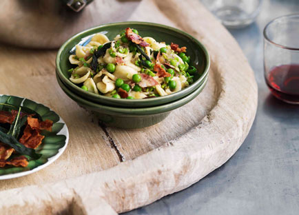Crushed pea orecchiette with pancetta and sage