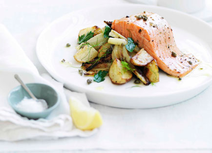 Roast trout with warm fennel and potato salad