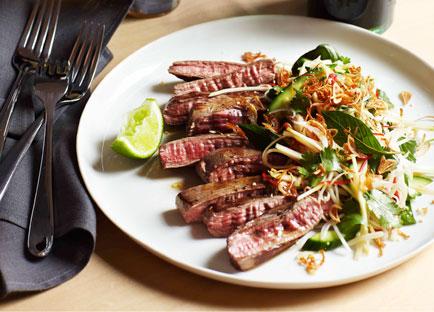 Seared skirt steak, green papaya and roasted rice
