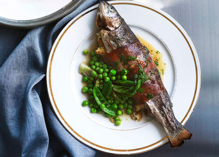 Cider-roast rainbow trout with leek and prosciutto