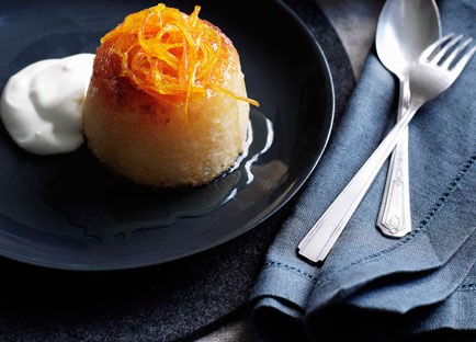 Yoghurt and orange-blossom puddings