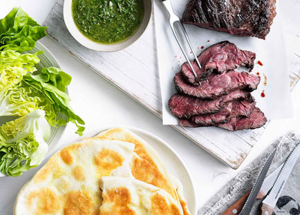 Hanger steak with chimichurri and yoghurt flatbread