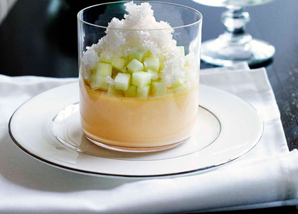 Vanilla custard with ginger granita and Granny Smith apple