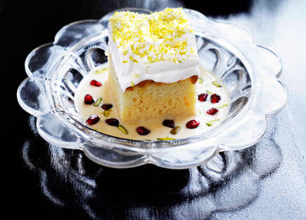 Milk cake with pomegranate and pistachio