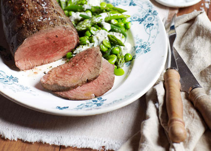Rare roast beef with spring greens and green goddess dressing