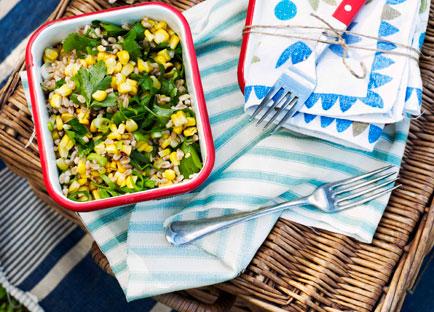 Farro and roasted corn salad