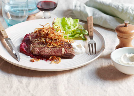 Char-grilled Scotch fillet with beetroot purée, horseradish cream and crisp fried onions