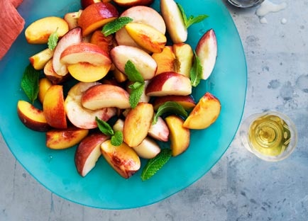 Stone fruit salad with peach and buttermilk ice-cream