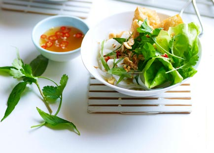 Rice noodles with tofu puffs, Asian herbs and nuoc cham