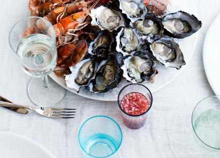 Dietmar Sawyere: Seafood platter with three sauces