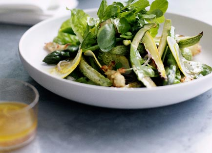 Roast zucchini and torn bread salad with verjuice dressing