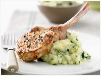 Pork cutlets with zucchini and potato mash